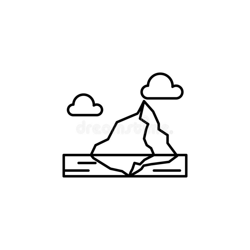 Iceberg, ice, ocean, clouds outline icon. Element of landscapes illustration. Signs and symbols outline icon can be used for web, royalty free illustration