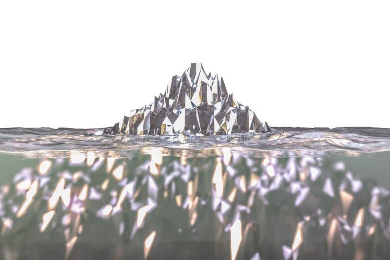 Iceberg isolato su fondo bianco illustrazione vettoriale