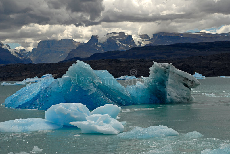 Iceberg in lake Argentino near Upsala glacier. stock photography