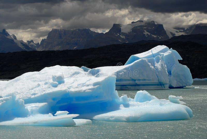 Iceberg in lake Argentino near Upsala glacier. royalty free stock photo