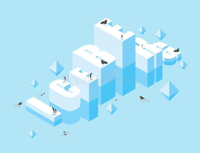 iceberg lettere 3D di ghiaccio Tipografia ghiacciata delle lettere Grande freddo i illustrazione di stock