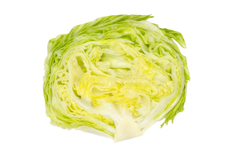 Iceberg lettuce half from above on white background royalty free stock photos