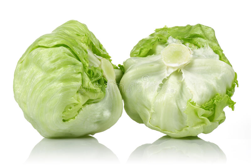 Iceberg lettuce. On white background royalty free stock images