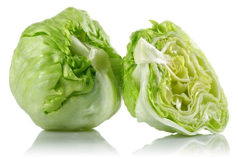 Iceberg lettuce. On white background stock images