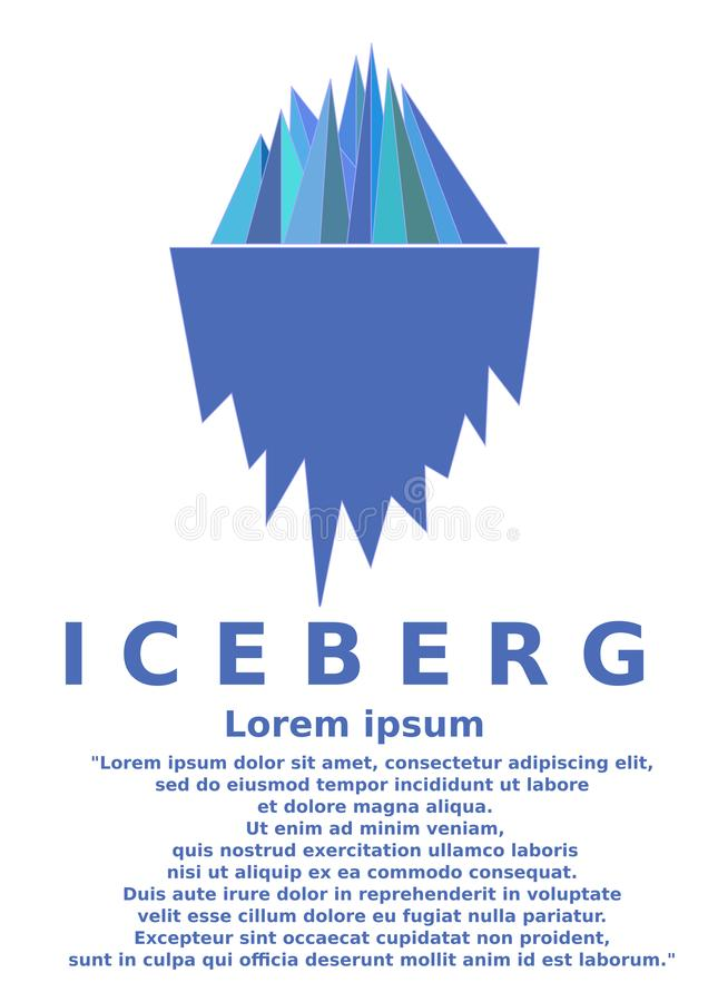 Ice berg illustration. Iceberg mountain illustrations concepts simple stock illustration