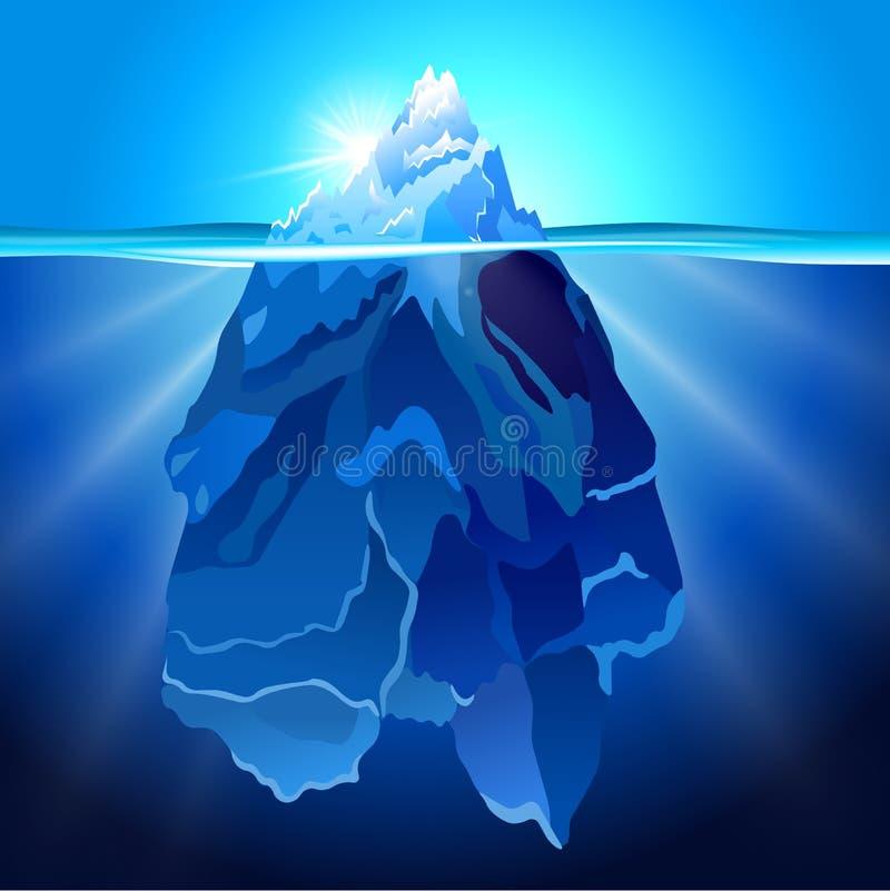 Iceberg nel fondo realistico di vettore dell'acqua royalty illustrazione gratis