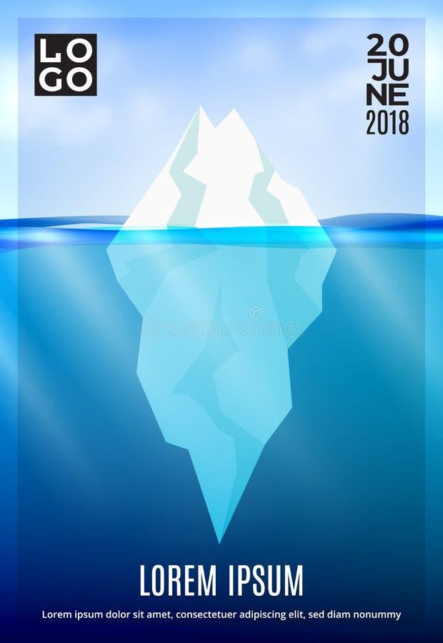 Iceberg nel manifesto dell'oceano profondo Fondo di inverno con il cielo subacqueo e realistico del fascio del sole della nuvola  illustrazione vettoriale