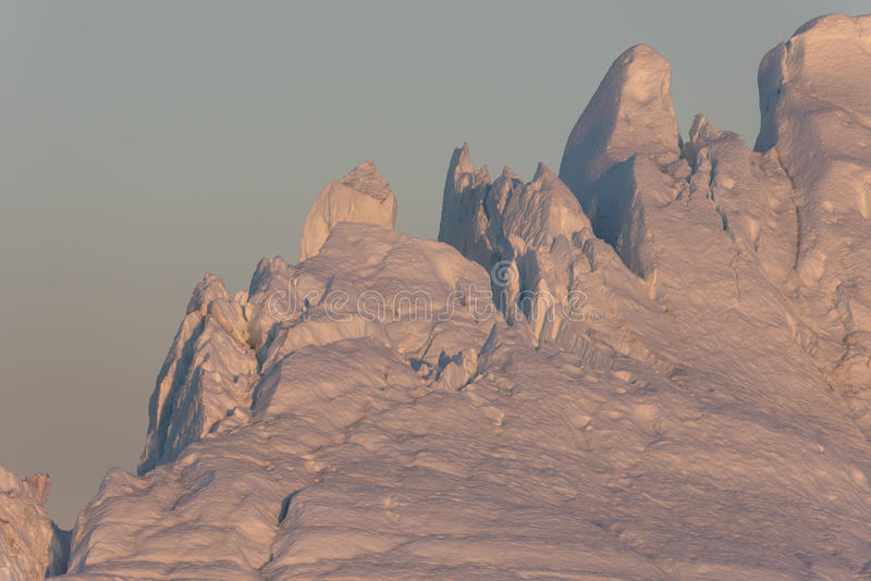 Iceberg nel sole di mezzanotte, Ilulissat, Groenlandia fotografie stock