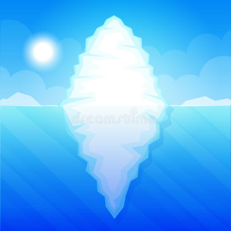 Iceberg nell'illustrazione di vettore dell'acqua dell'oceano illustrazione di stock