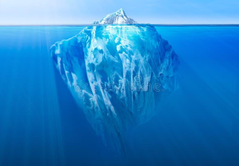 Iceberg nell'oceano con la parte subacquea visibile illustrazione 3D illustrazione vettoriale