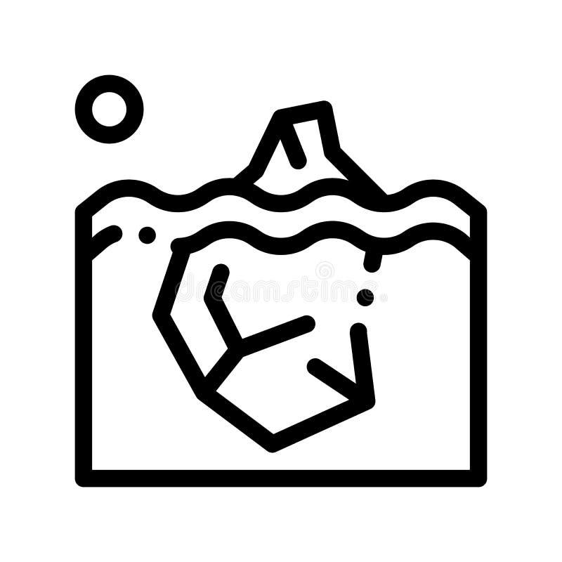 Iceberg nella linea sottile icona di vettore caldo globale dell'oceano illustrazione di stock