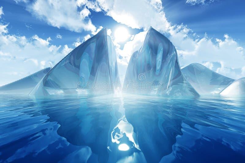Iceberg no mar calmo ilustração royalty free