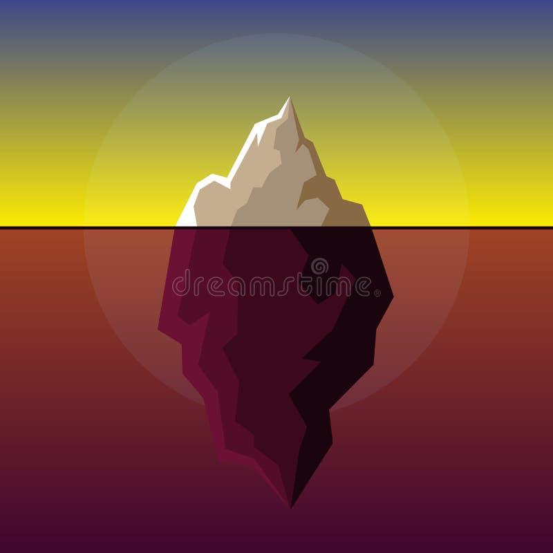 Iceberg no vetor atlântico do fundo do por do sol ilustração stock