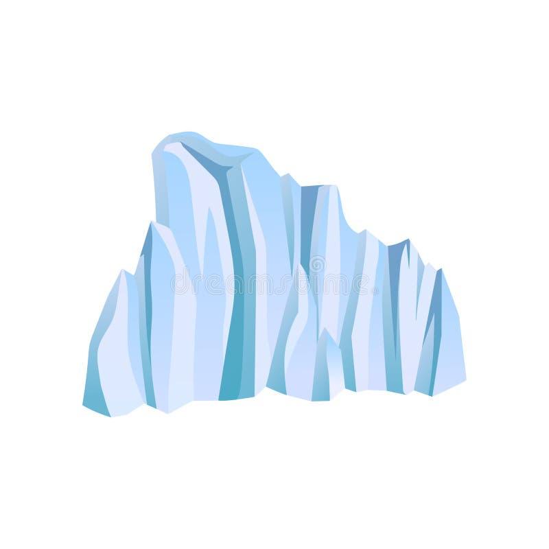 Iceberg o montagna di ghiaccio blu Tema di alpinismo o di scalata Elemento piano di vettore per l'opuscolo di viaggio, il libro d illustrazione vettoriale