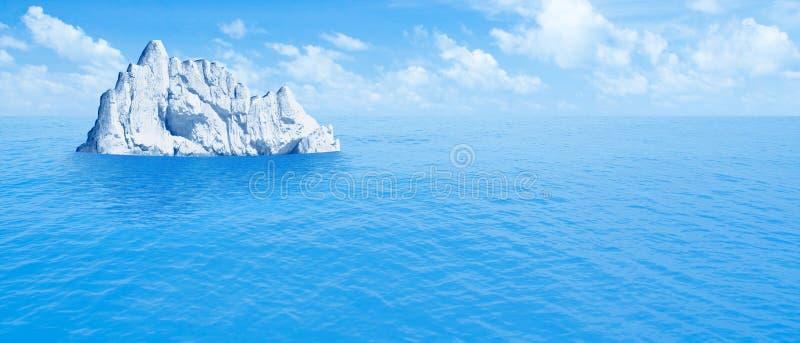 Iceberg in ocean. Hidden threat or danger concept. 3d illustration vector illustration