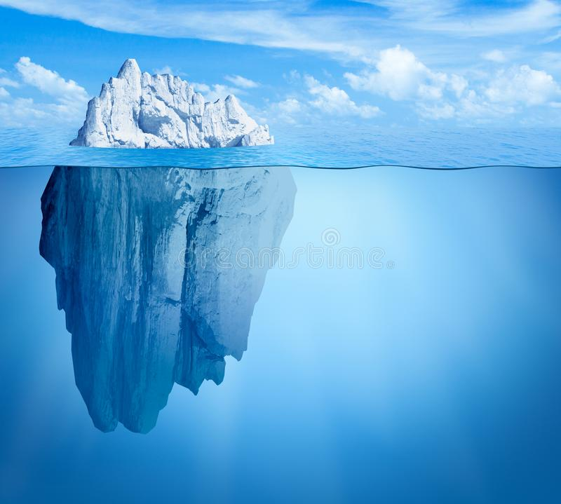 Iceberg in ocean. Hidden threat concept. 3d illustration royalty free stock photography