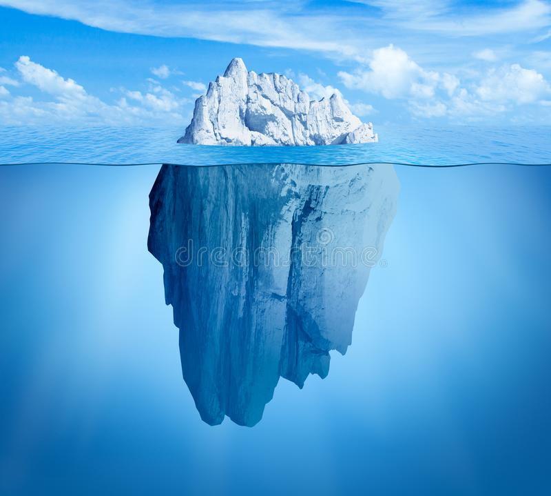 Iceberg in ocean. Hidden threat or danger concept. Central composition royalty free illustration