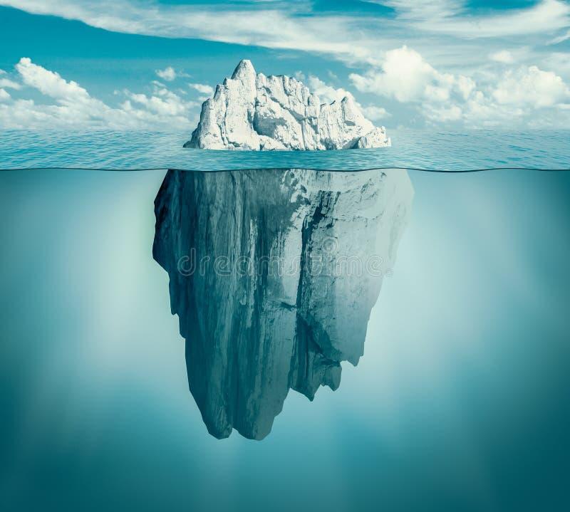 Iceberg in ocean. Hidden threat or danger concept. Central composition. Toned green vector illustration