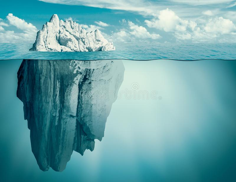 Iceberg in ocean. Hidden threat or danger concept. 3d illustration. royalty free stock photo