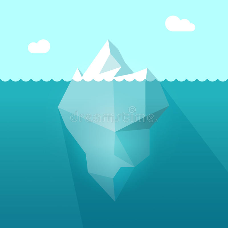 Iceberg in ocean water vector illustration, berg floating underwater part. Iceberg in ocean water vector illustration, big iceberg floating in sea waves with stock illustration