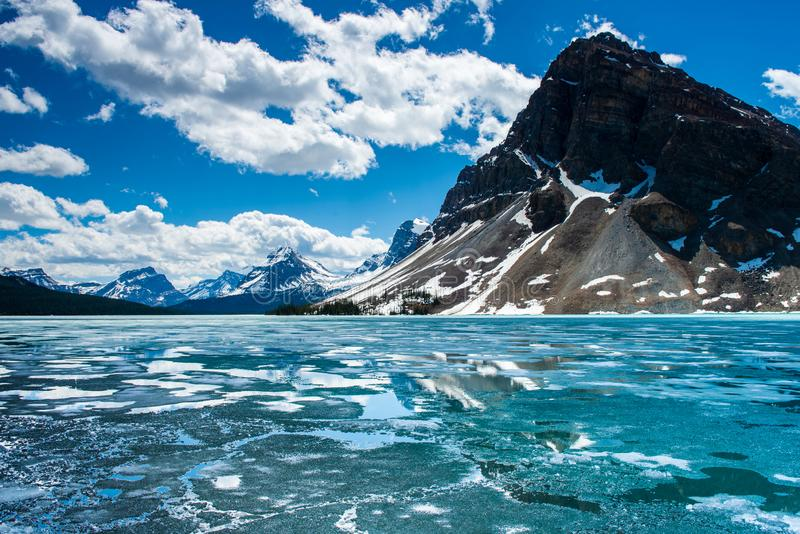 Iceberg over Bow lake. Bow lake on the icefield parkay in Banff national park stock photo