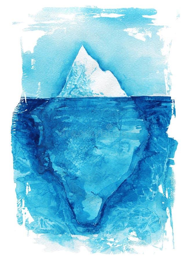 iceberg Paisagem do mar Ilustração da pintura da mão da aquarela do oceano ilustração stock