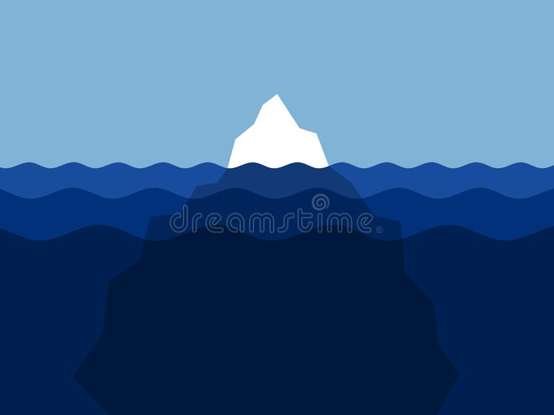 iceberg is partly hidden, covered and concealed under water stock illustration