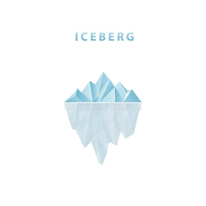 Iceberg poligonale nello stile piano Icona dell'iceberg illustrazione vettoriale