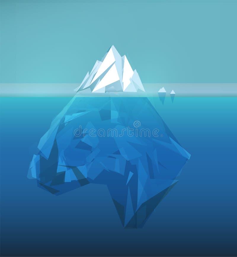 Iceberg polygonal illustration, sea ice berg, underwater ice, abstract polygon ice floe, glacier vector picture. Iceberg polygonal illustration, sea ice berg stock illustration