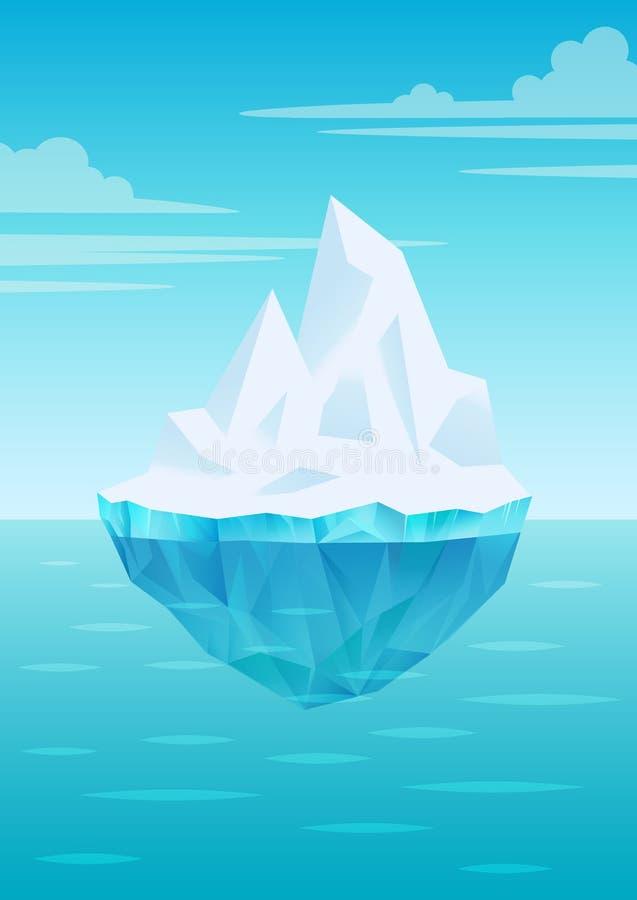 Iceberg que flota en ondas de agua con la parte subacuática, el cielo azul brillante con las nubes, el estante de agua dulce del ilustración del vector