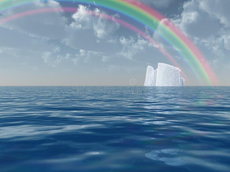 Iceberg With Rainbow Scene Royalty Free Stock Photography