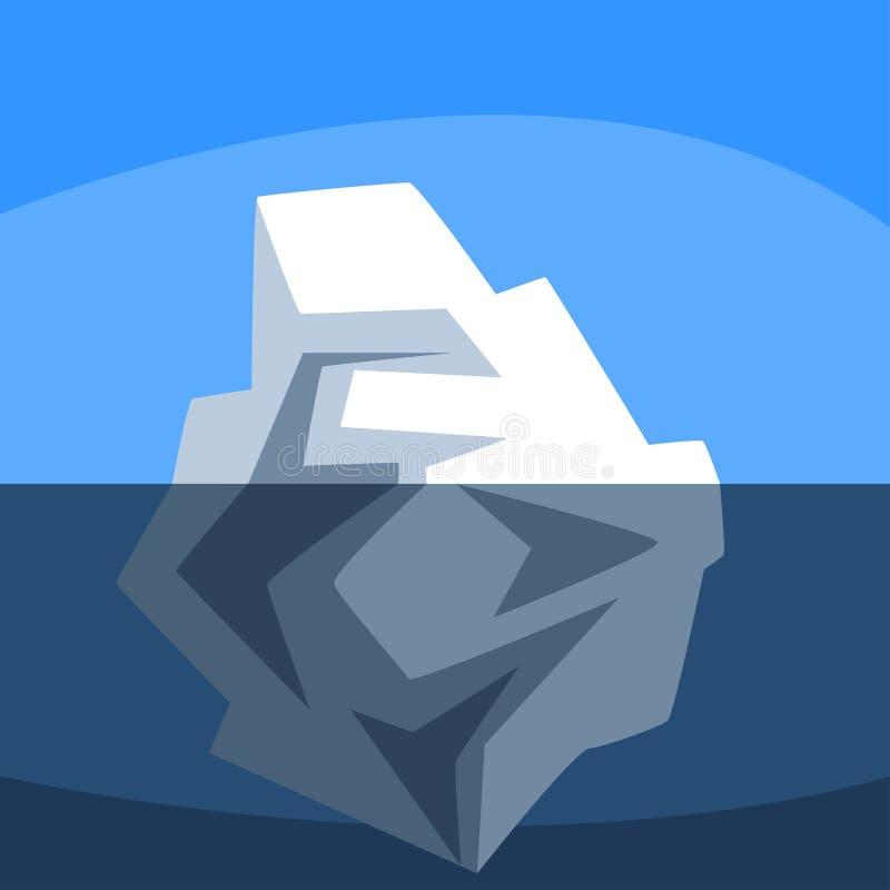 Iceberg sobre y debajo del agua, ejemplo flotante del vector del iceberg antártico en fondo azul ilustración del vector