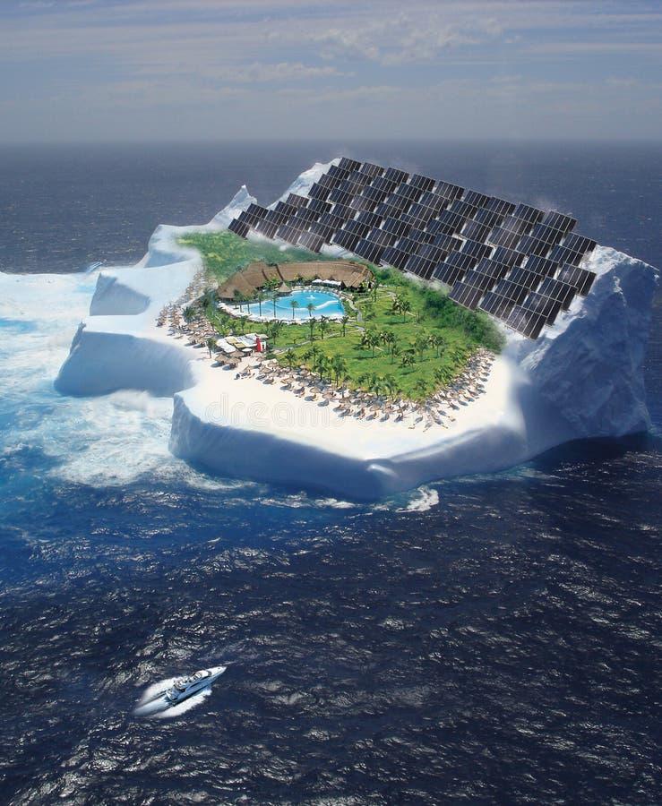 Iceberg with solar panels stock photos