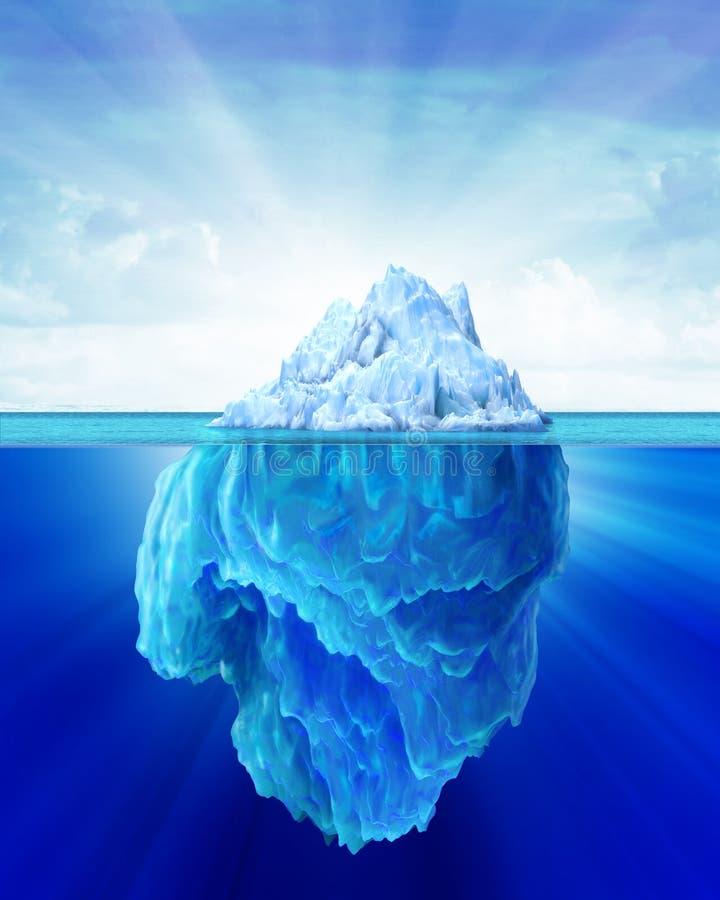 Iceberg solitário no mar.