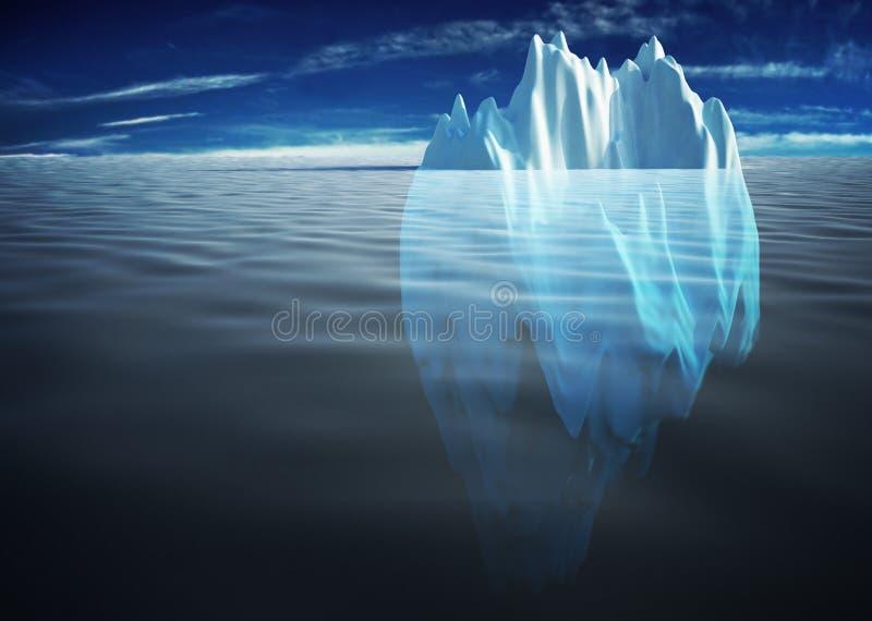 Iceberg solitario en el mar ilustración del vector