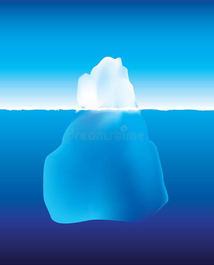 Iceberg sopra e sotto acqua illustrazione vettoriale