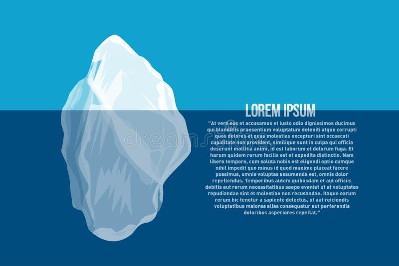 Iceberg sopra e sotto acqua Manifesto del Mare del Nord con l'iceberg astratto illustrazione vettoriale