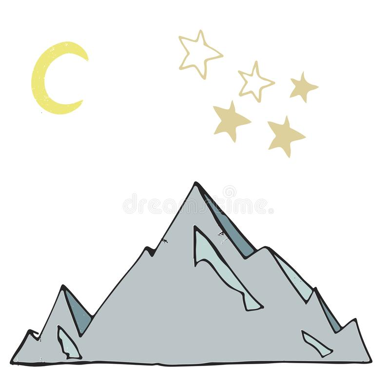 Iceberg and stars Moon landscape ice mounting rock vector illustration drawing shaddy style yellow color blue land ice card place stock illustration