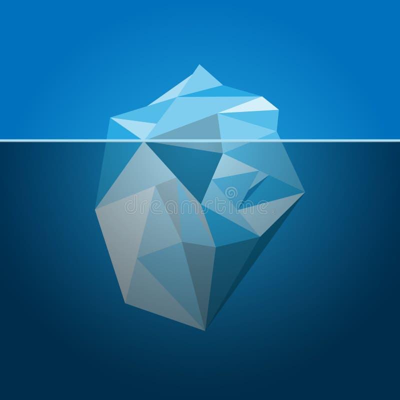 Iceberg. Stylized image of frozen diamond in iceberg shape vector illustration