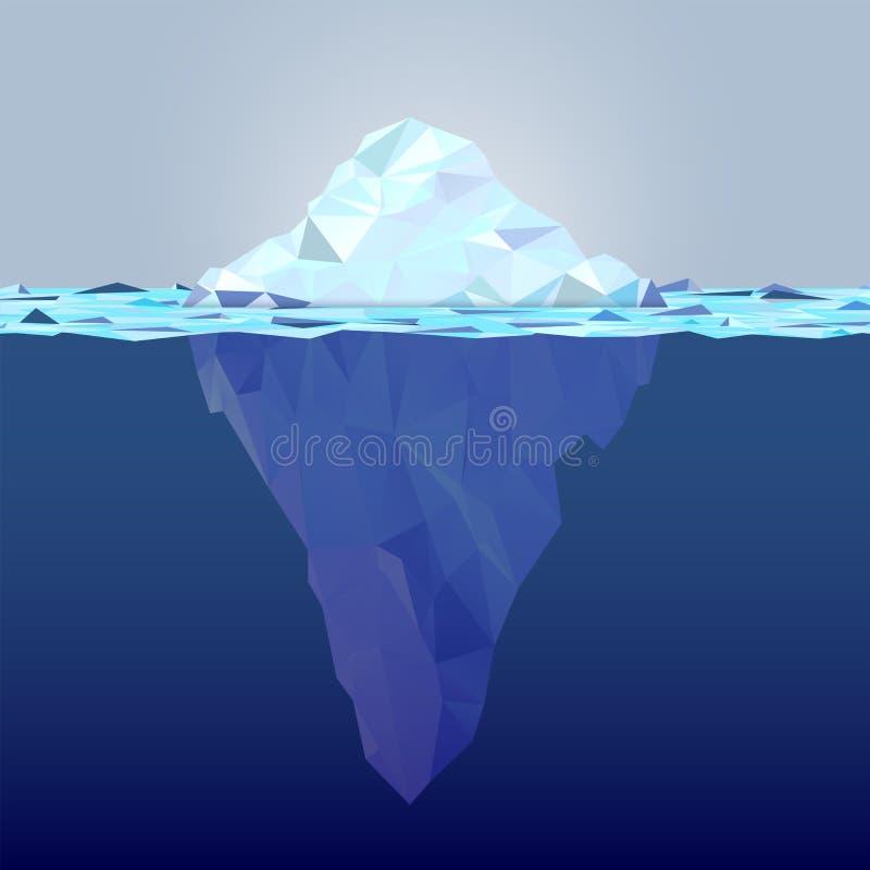 Iceberg subacqueo fatto dalle forme del triangolo royalty illustrazione gratis