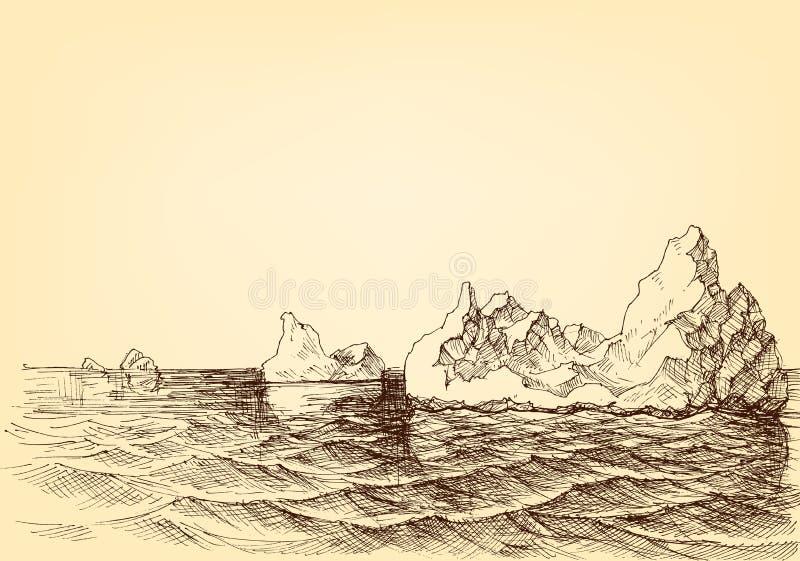 Iceberg sul disegno dell'oceano illustrazione vettoriale