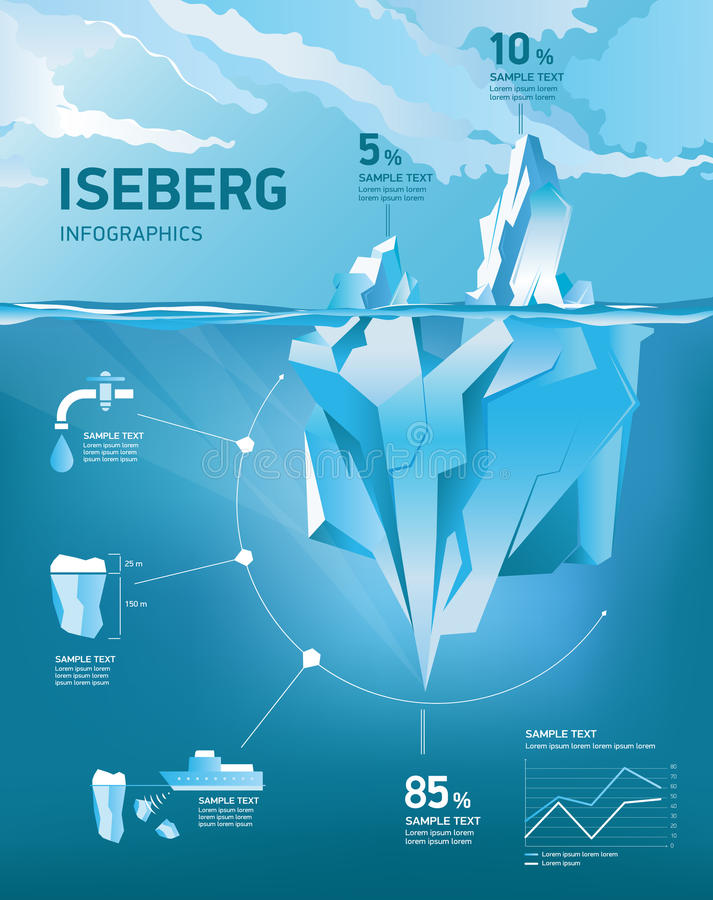 Iceberg under and above water. Vector illustration vector illustration