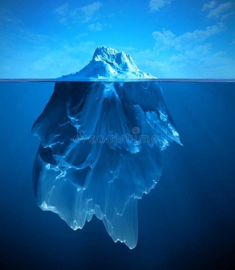 Iceberg. Underwater iceberg ilustration 3d render
