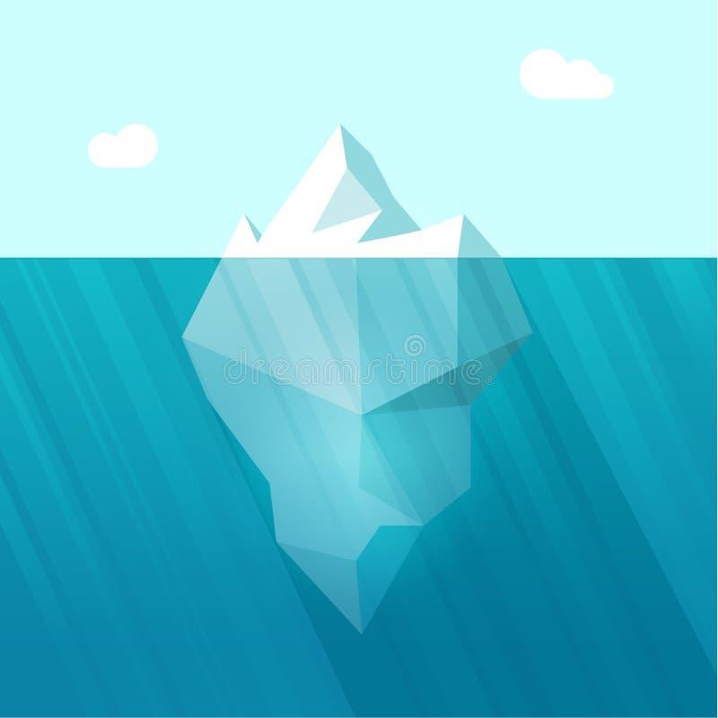 Iceberg vector illustration, big berg in ocean water floating. Iceberg vector illustration, big iceberg in ocean water floating with huge underwater part royalty free illustration