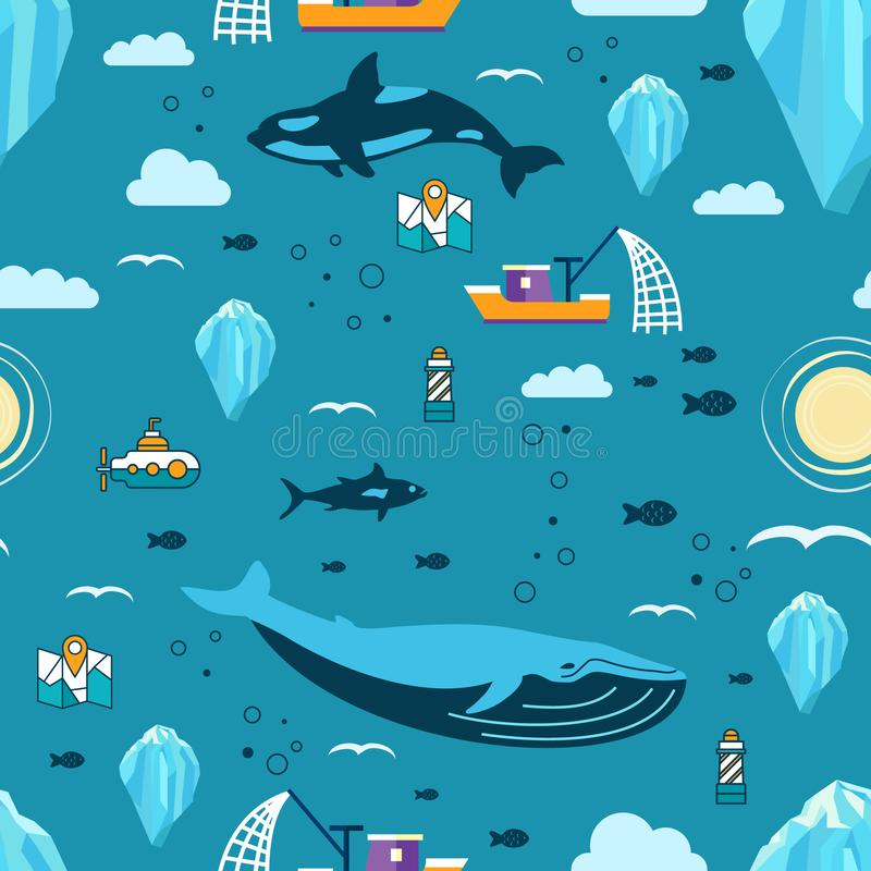 Iceberg vector seamless pattern with mammals, fish and ship royalty free stock image