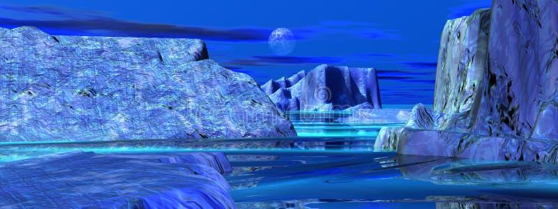 Download Icebergs stock illustration. Image of blue, evening, coast - 25913321