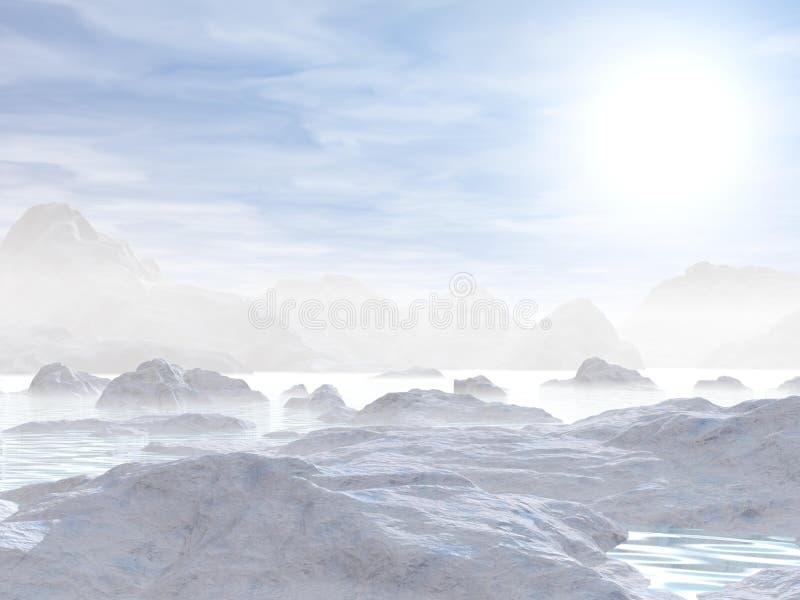 Icebergs - 3D rendent illustration stock
