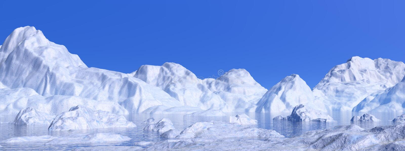 Icebergs - 3D rinden libre illustration