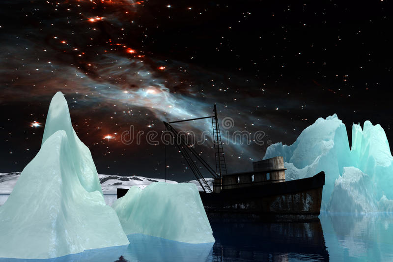 Icebergs bajo vía láctea stock de ilustración