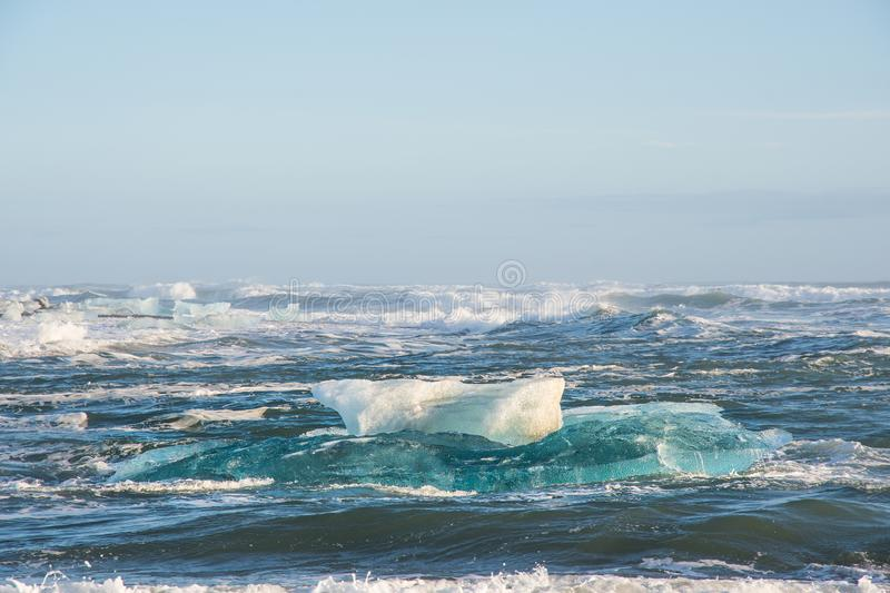 Icebergs on the coast of Diamond beach near Jokulsarlon in Iceland. Icebergs on the coast of Diamond beach near Jokulsarlon in South Iceland royalty free stock photo